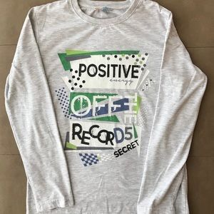Grey cotton long sleeve top for boys size 10-11